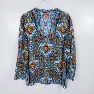 Tory Burch Long Sleeve Silk Blend Sequin Tunic Top